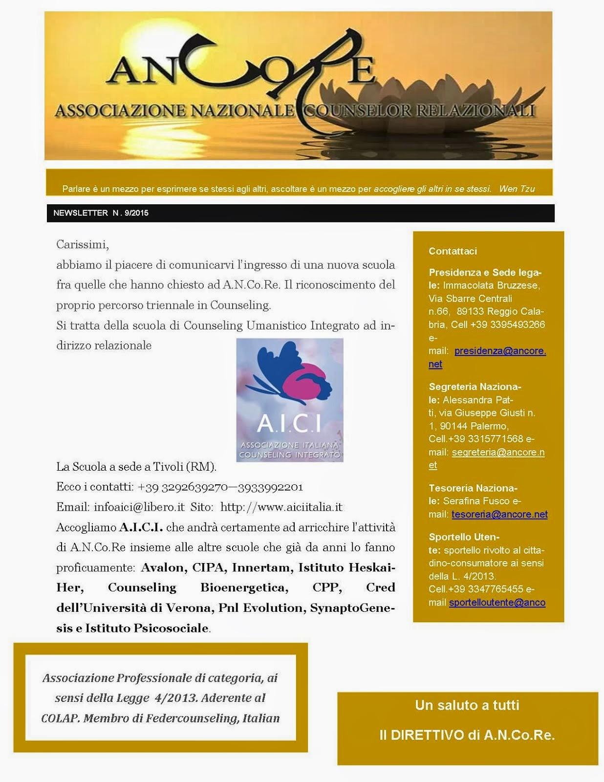 A.I.C.I. - Scuola di Counseling Integrato ad Indirizzo Relazionale
