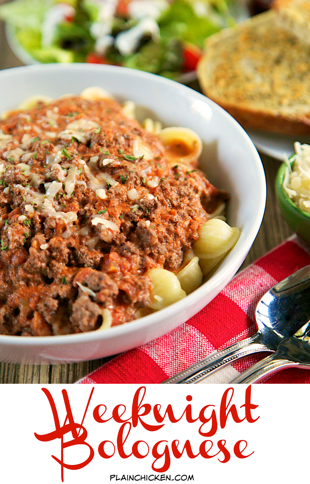 Weeknight Bolognese - from scratch bolognese sauce made in under 30 minutes! Beef, garlic, seasonings, tomatoes, tomato paste, red wine, cream and parmesan. Tastes like it has simmered on the stove all day. This has quickly become one of our favorite meals!