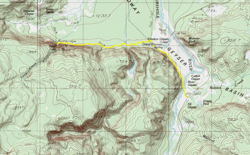 Yellowstone National Park Topographic Map.Day Hiking Trails Day Trail Passes Prismatic Spring Geysers