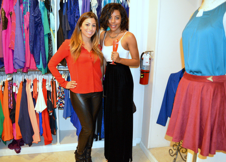 Fashion Blogger Anais Alexandre of Down to Stars at My Bestfriend's Closet Holiday Event in a vintage velvet maxi skirt with an American Apparel tank and Chinese Laundry heels with owner Patty