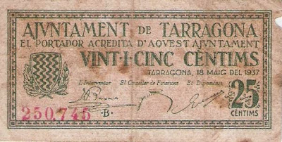 Billete que circulaba por Tarragona en 1937