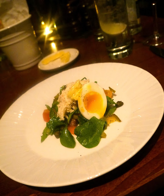 Cardiff Marriott Parsley Salad, Crab, Soft Boiled Egg