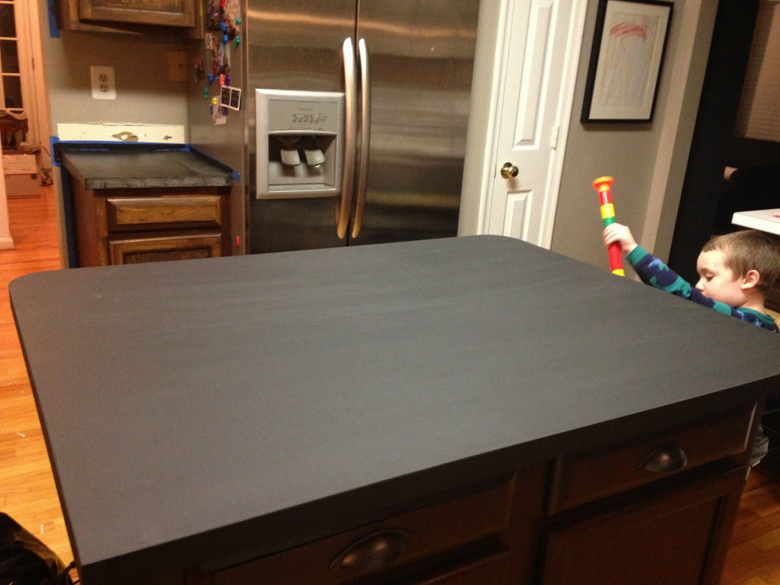 Countertop Chalkboard Paint : ... just have the countertops around the perimeter to do and then seal