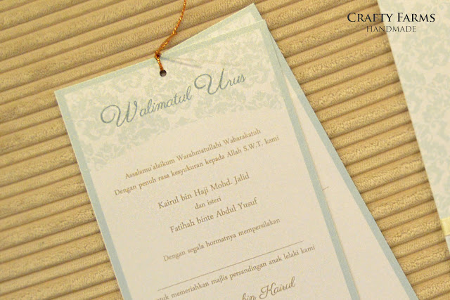 Baby Blue Damask Malay Wedding Pocket Invitation Seremban
