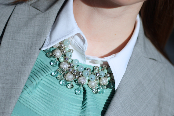Mint & Silver Beaded Necklace from The Limited | StyleSidebar