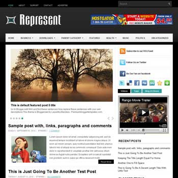 Represent blog template. template image slider blog. magazine blogger template style. wordpress theme to blogger