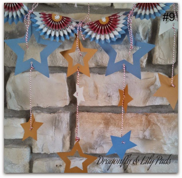 American Bunting, 4th of July Decor, Patriotic Bunting, USA, Stars, Gold, White, Blue, Red