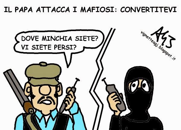 papa francesco, mafia, ISIS, satira, vignetta