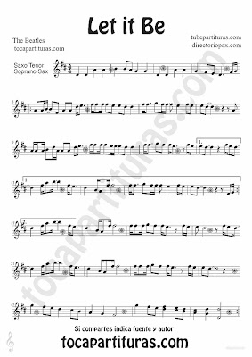 Tubescore Let it Be by The Beatles sheet music for Tenor and Soprano Saxophone Pop - Rock Music Score