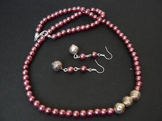 biżuteria z półfabrykatów - lawendowe perły (komplet)
