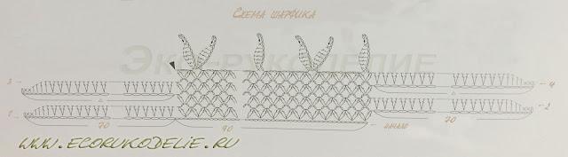 Схема шарфа из розочек крючком