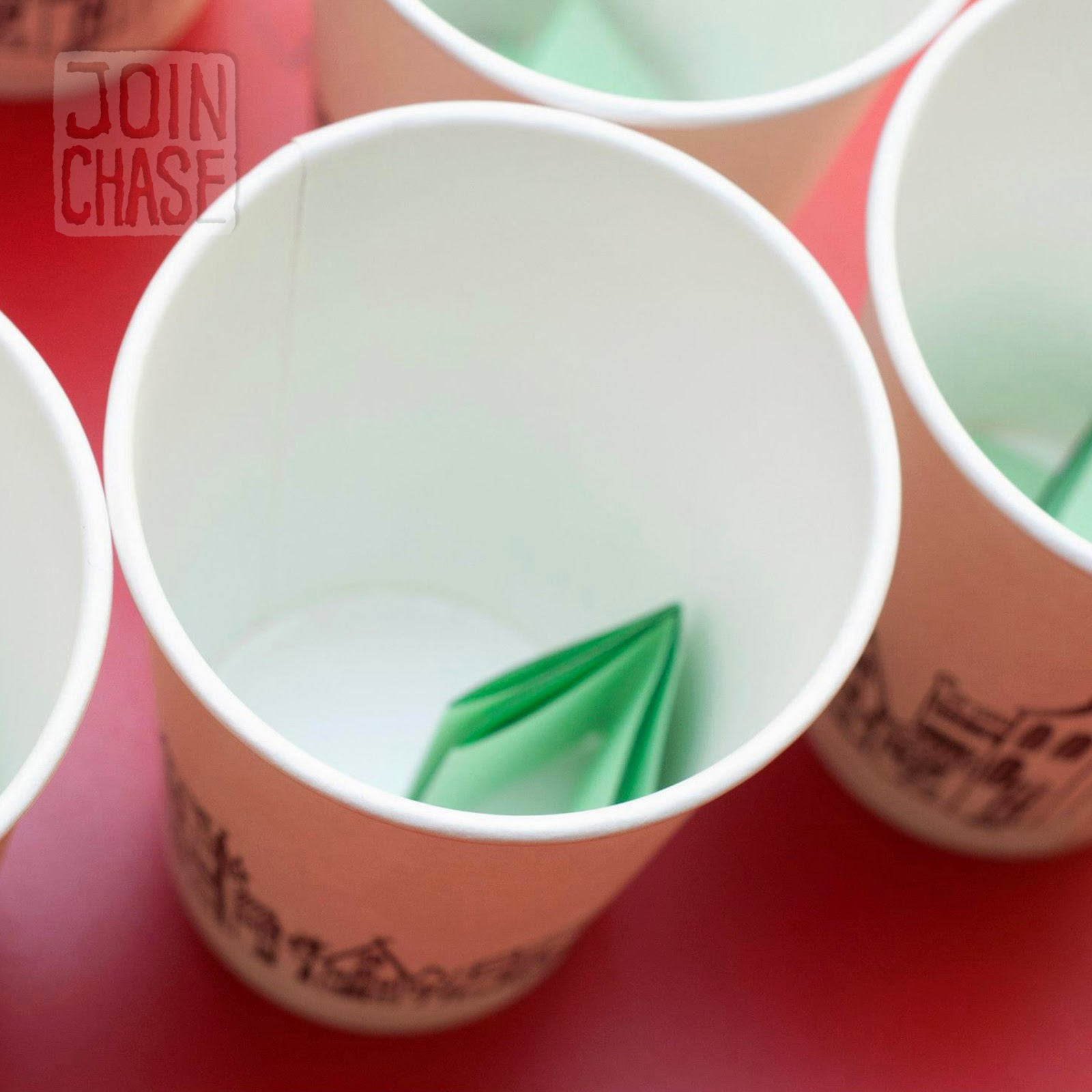 English expressions placed inside cups to play English Pong in South Korea.