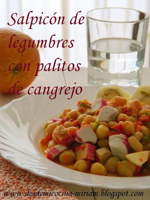 Salpicón de legumbres con palitos de cangrejo, Salpicón de legumbres en thermomix