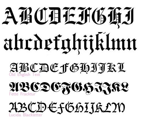 letras tipo goticas: