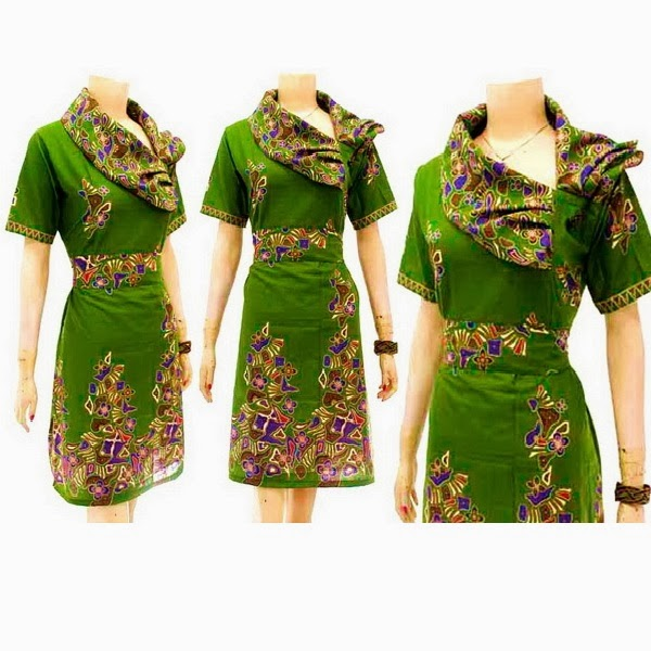 DB3718 Mode Baju Dress Batik Modern Terbaru 2014