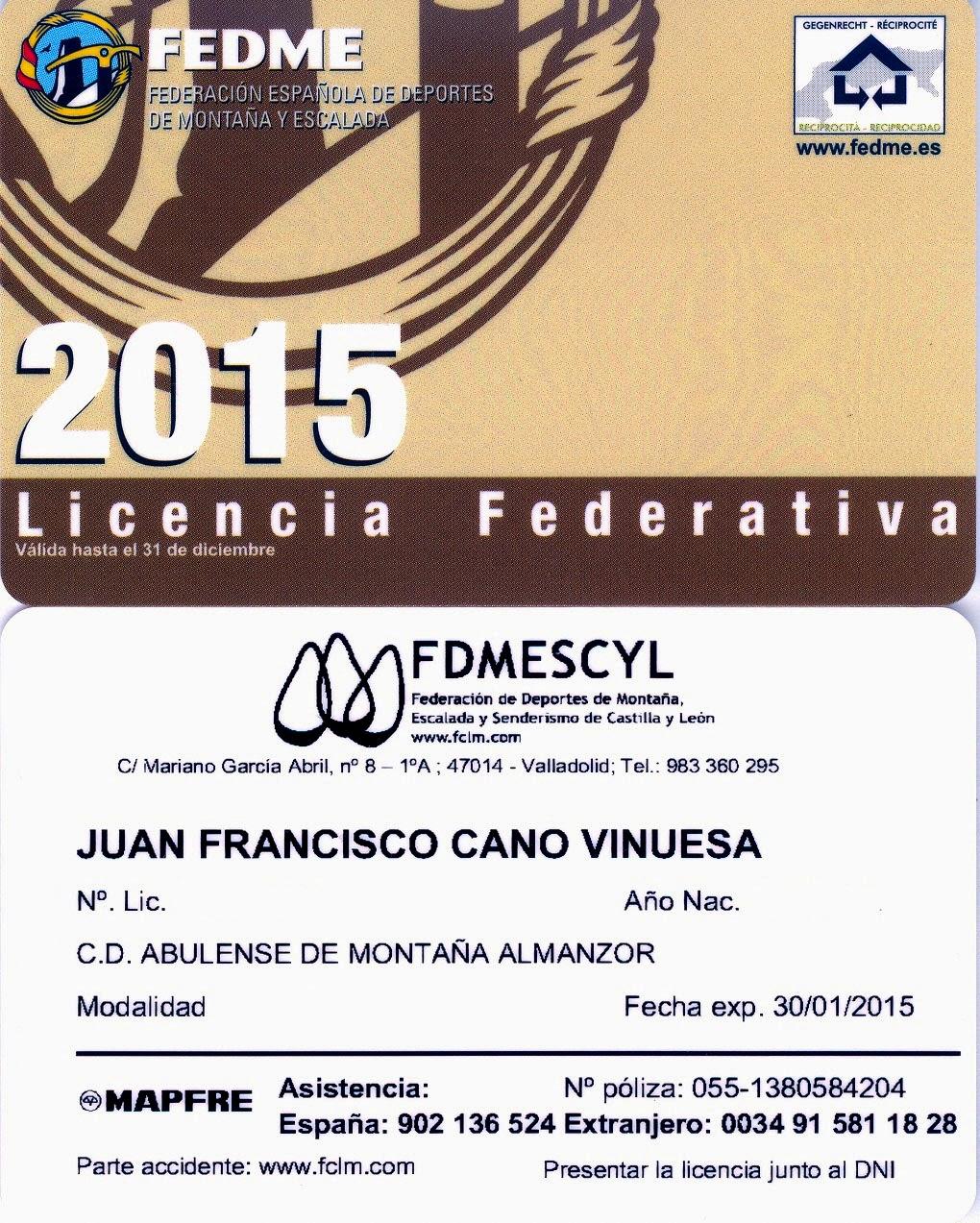 LICENCIA FEDERATIVA 2015