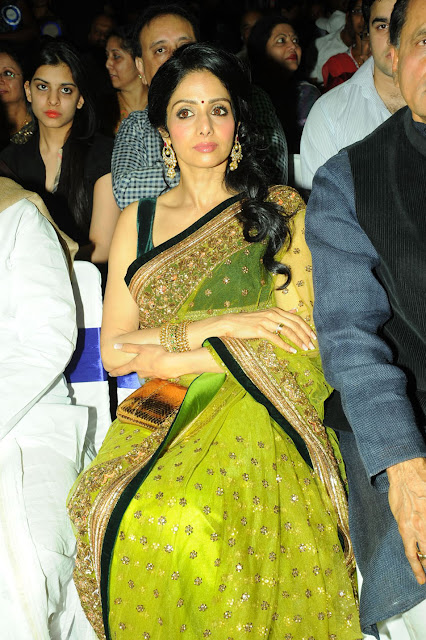 Actress Sridevi Green Saree Photos
