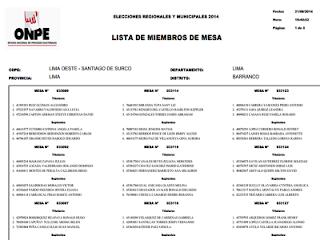 Consultar Lista de miembros de mesa Elecciones Municipales y Regionales 2014