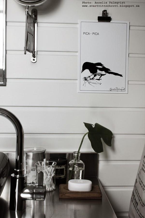 konsttryck, svart och vit tavla, tavlor, skata poster, skator, fågel, industristil, industriellt badrum, vitt, vit, vita, spegel, speglar, kran, badrumsinredning, badrum, svart handfat, tvättfat,