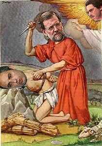 imagen en la que se ve a Camps como Isaac, Rajoy como Abraham y a Aznar como Dios