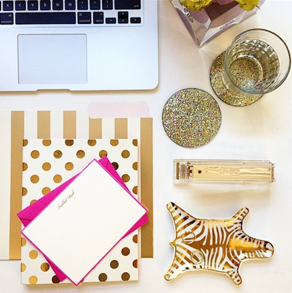 kate spade gold desk accessories
