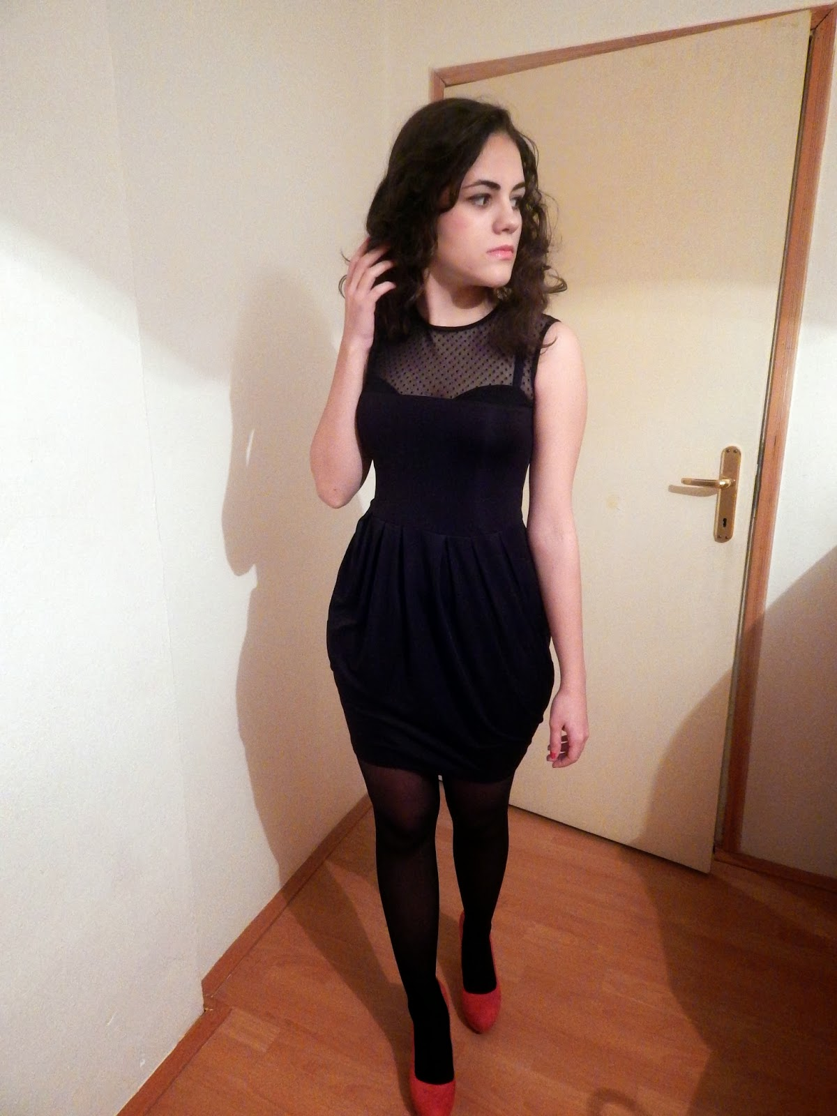 c8f8b9578580 hot pink Nine West pumps – black Miss Selfridge dress – black Chanel bag. Bright  pink heels were contrast nicely with black dress.