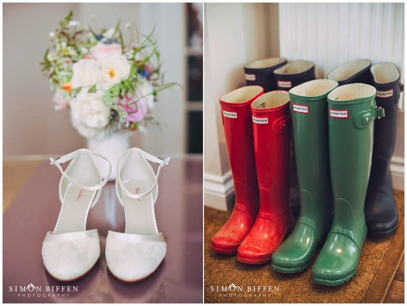 Bridal shoes and hunter wellies