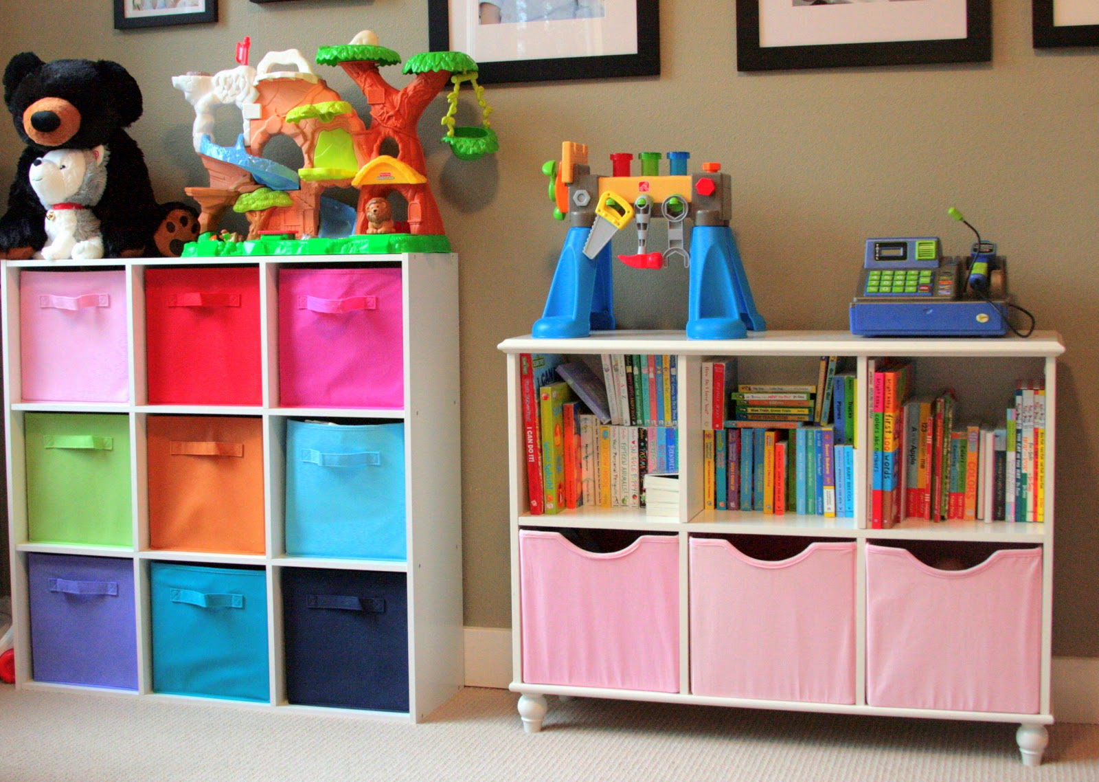 The navy stripe organizing kids toys for Organized kids rooms