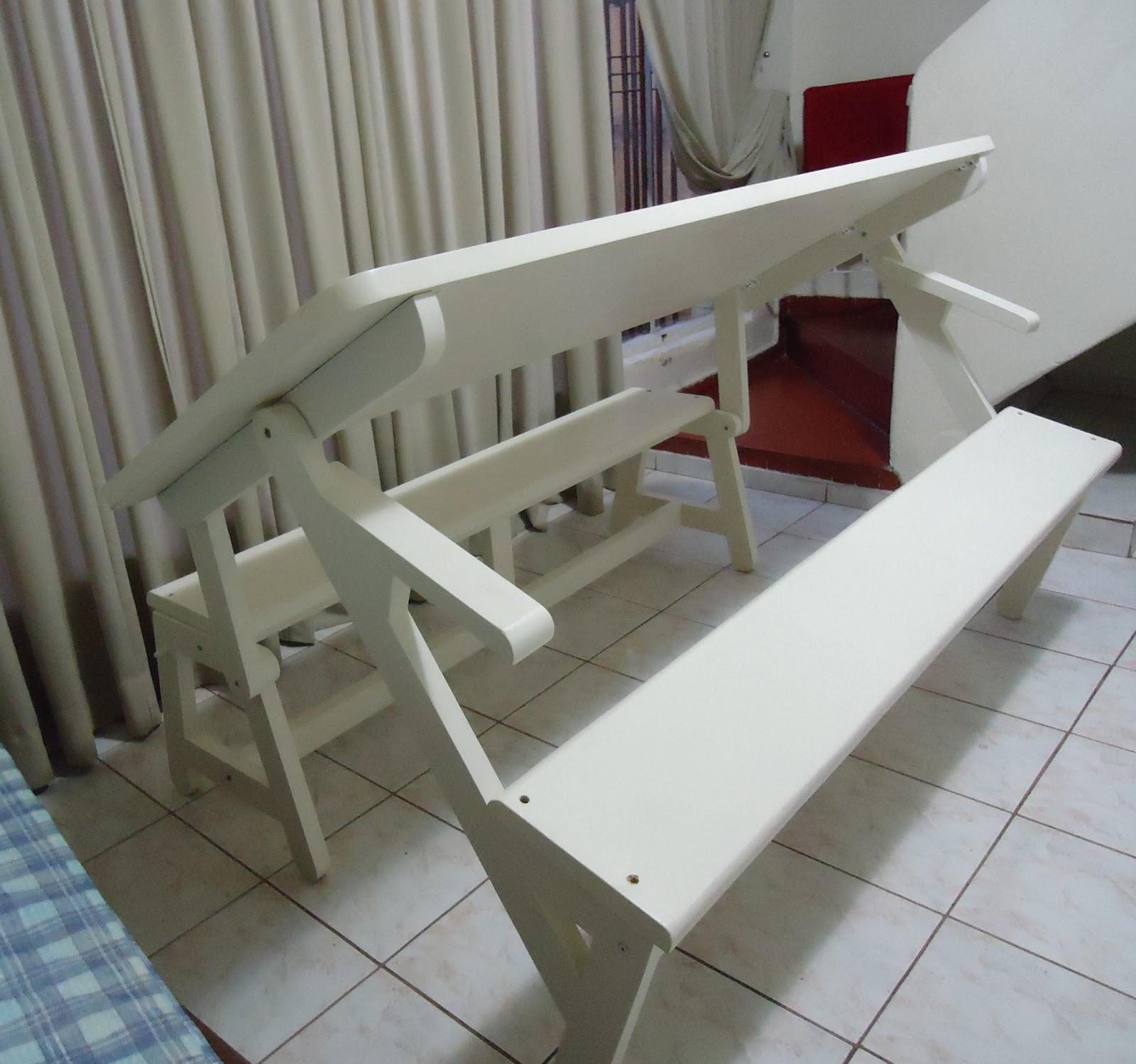 banco jardim que vira mesa:Essa mesa veio para inovar totalmente a  #4F657C 1600x1498