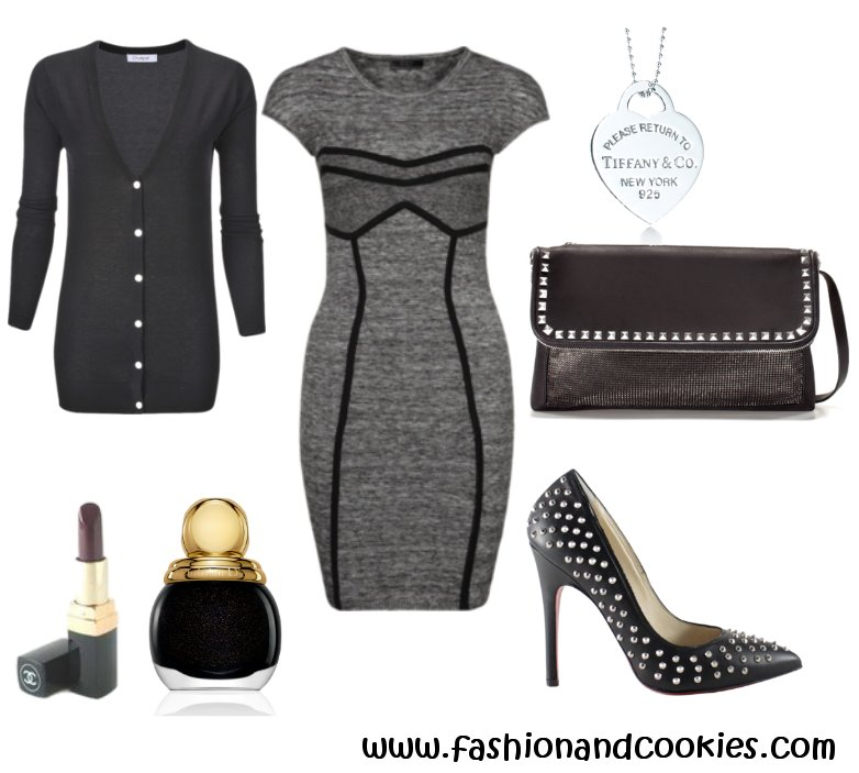 Guess dress, studded pumps and bag, Fashion and Cookies
