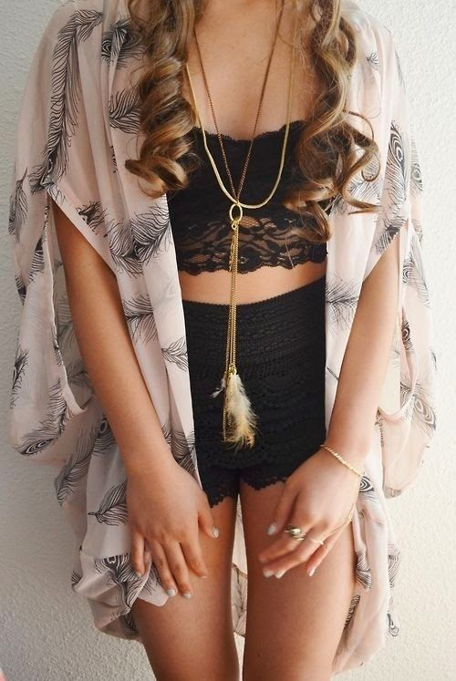 Amazing black bra, bracelet, shorts and Poncho