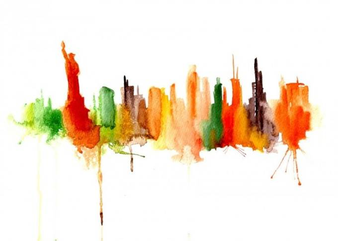watercolor cityscape new york