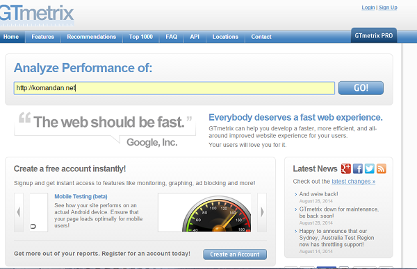 mengukur kecepatan website