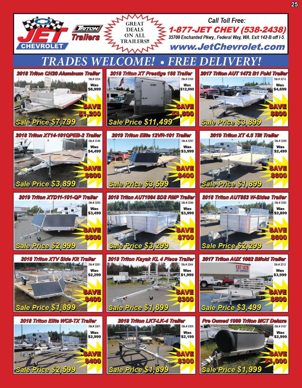 Jet Chevrolet Big Triton Trailers Sale!! Big Savings!!