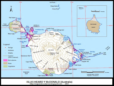 Mapa general de las islas Heard y McDonald