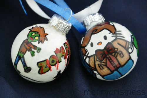 Handpainted Who Ornaments: Zombie Doctor & Hello Kitty Doctor