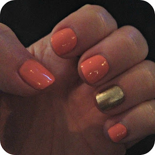 Coral Gold Manicure