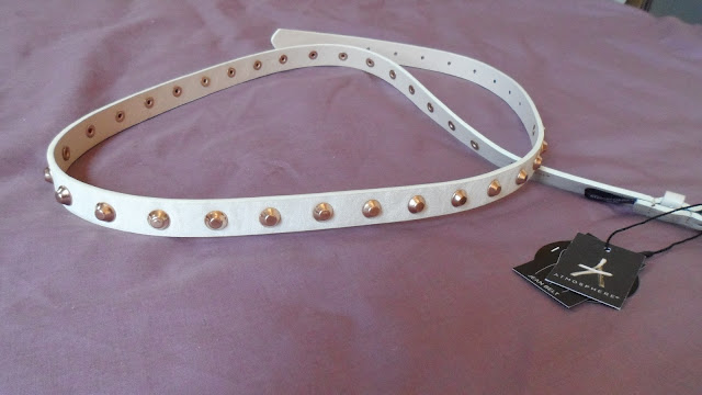 Primark cream studded skinny belt