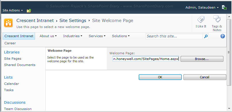change sharepoint 2010 welcome page
