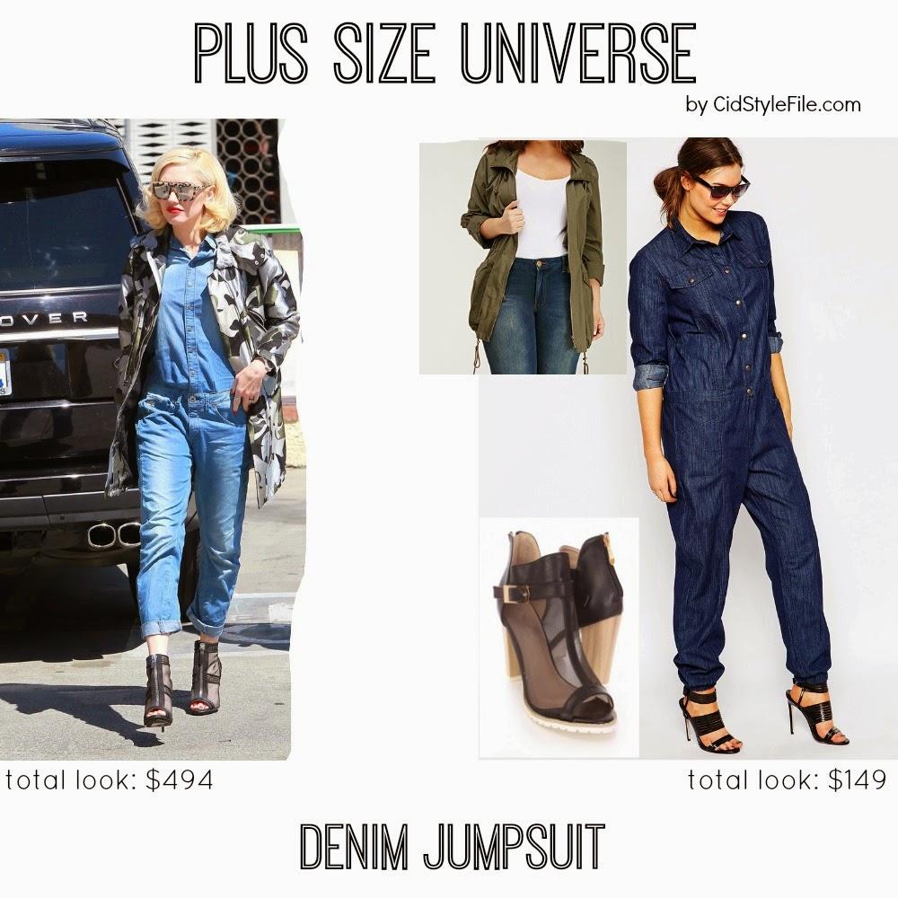 plus size universe, denim jumpsuit, gwen stefani, g star, raw, asos curve, forever 21, plus size style