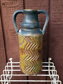 Carved Wood Fired Pottery Bottle by Future Relics