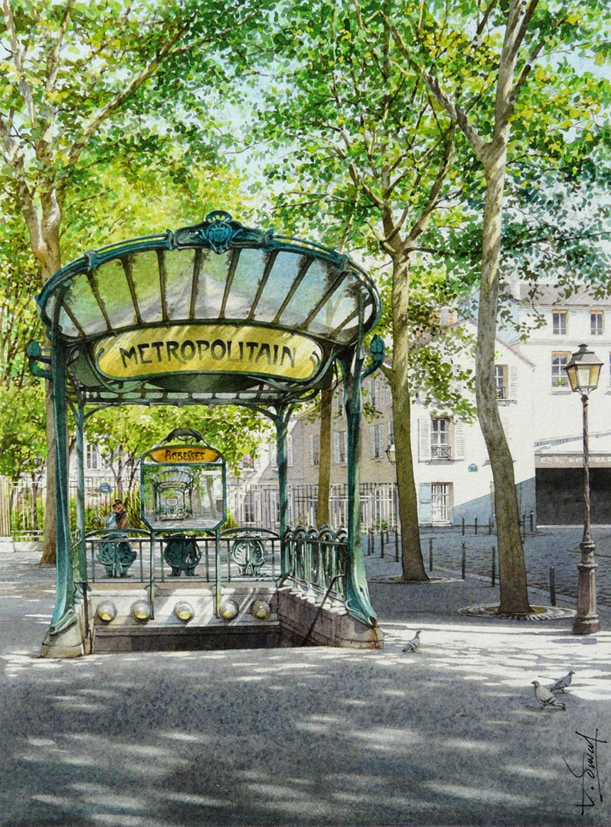 34-Abyme-des-Abbesses-Thierry-Duval-Snippets-of Real-Life-in Watercolor-Paintings-www-designstack-co