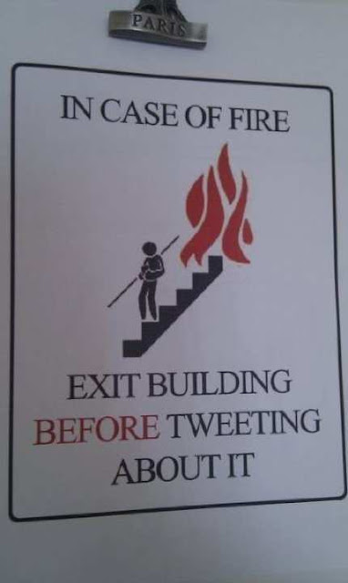 funny sign, bizarre sign, in case of fire