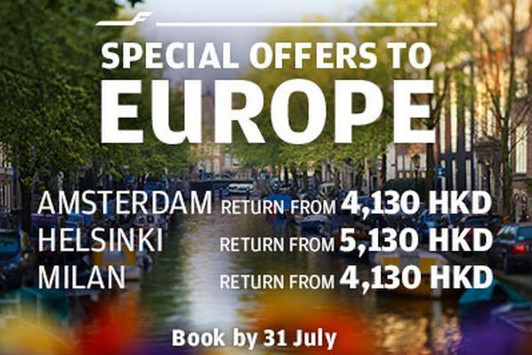 芬蘭航空 Finnair 【7月促銷】香港出發歐洲各大城市$4,130起,9月至16年5月前出發。