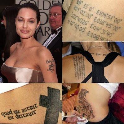 Fotos e imagens das Tatuagens de Angelina Jolie