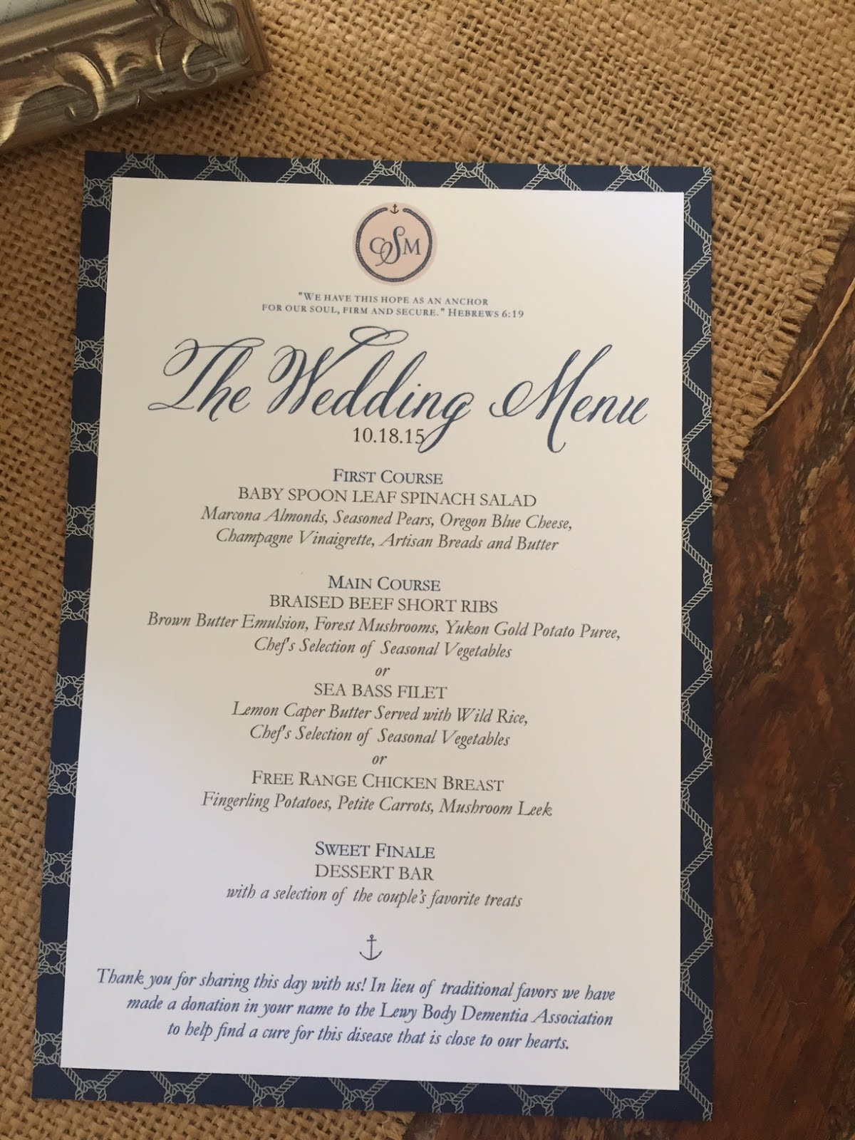Menu For Place Setting