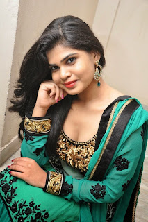 Actress Alekhya Pictures in Green Anarkali Long Length Salwar Kameez at Premisthe Poye Kaalam Audio Release Function  76