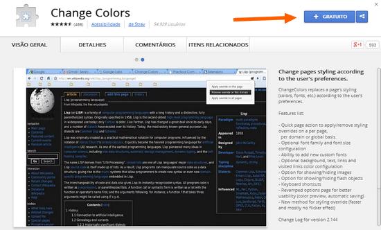 mudar cor de qualquer site