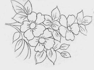 ramo de flores para pintura em tecido