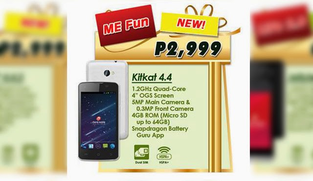 Cherry Mobile Me Fun Quad Core with Kitkat and OGS Display for ₱2,999